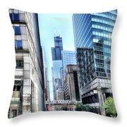 Chicago Concrete Canyons Throw Pillow
