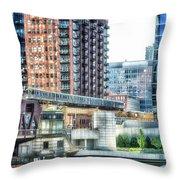 Chicago Cta Lake Street El In June Throw Pillow