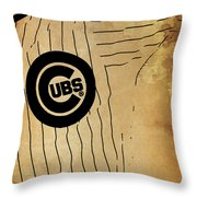 Chicago Cubs Baseball Team Vintage Card Throw Pillow