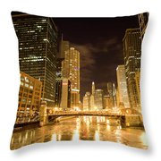 Chicago Downtown City  Night Photography Throw Pillow