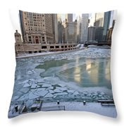 Chicago Downtown City  Night Photography Wrigley Square Throw Pillow