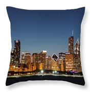 Chicago Downtown Skyline At Night Throw Pillow