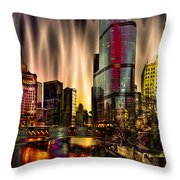 Chicago Draws The Curtain Throw Pillow
