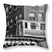 Chicago El And Warehouse Black And White Throw Pillow