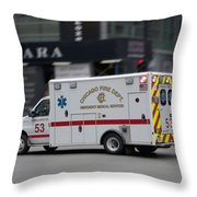 Chicago Fire Department Ems Ambulance 53 Throw Pillow