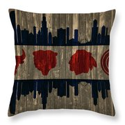 Chicago Flag Barn Door Throw Pillow