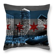 Chicago Flag Bean Throw Pillow