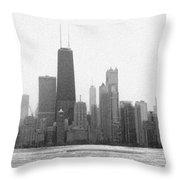 Chicago Frozen Skyline Panorama Throw Pillow