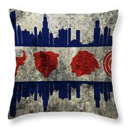 Chicago Grunge Flag Throw Pillow