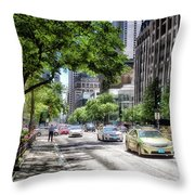 Chicago Hailing A Cab In June Throw Pillow