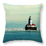 Chicago Harbor Light Throw Pillow