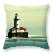 Chicago Harbor Lighthouse Throw Pillow