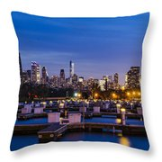 Chicago Harbor View At Night Throw Pillow