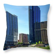 Chicago Heading Up The North River Branch Throw Pillow