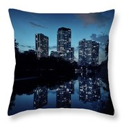 Chicago High-rise Buildings By The Lincoln Park Pond At Night Throw Pillow