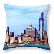 Chicago Il - Schooner Against Chicago Skyline Throw Pillow