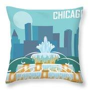 Chicago Illinois Horizontal Skyline - Buckingham Fountain Throw Pillow