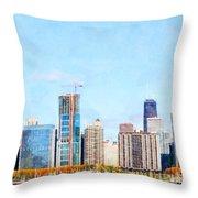 Chicago Illinois Skyline Painterly Triptych Plate Three Of Three 20180516 Throw Pillow