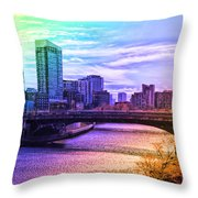 Chicago In November Chicago River South Branch Pa Rainbow 02 Throw Pillow
