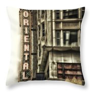 Chicago In November Oriental Theater Signage Vertical Throw Pillow