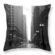 Chicago In The Rain 2 B-w Throw Pillow