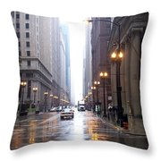 Chicago In The Rain Throw Pillow