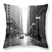 Chicago In The Rain B-w Throw Pillow