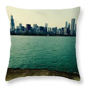 Chicago Lake Michigan Skyline Throw Pillow