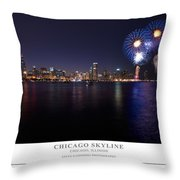 Chicago Lakefront Skyline Poster Throw Pillow
