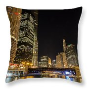 Chicago - Looking East From Dearborn Street Throw Pillow
