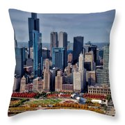 Chicago Looking West 02 Throw Pillow