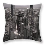 Chicago Loop Sundown B And W Throw Pillow