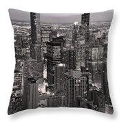 Chicago Loop Sundown B And W Throw Pillow by Steve Gadomski