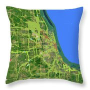 Chicago Map, Old Map, Abstract, Abstract Art, Blue, Blue And Purple Art Throw Pillow