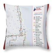 Chicago Marathon Race Day Route Map 2014 Throw Pillow