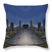 Chicago Millennium Park Bp Bridge Mirror Image Throw Pillow