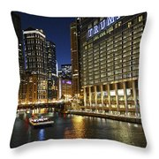Chicago Night Lights Throw Pillow