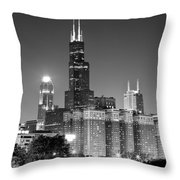Chicago Night Skyline In Black And White Throw Pillow by Paul Velgos