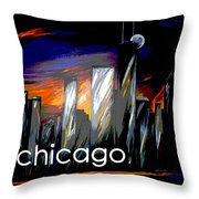 Chicago Night Skyline Throw Pillow