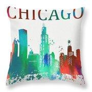 Chicago Paint Splatter Throw Pillow