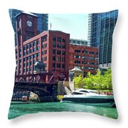 Chicago Parked By The Clark Street Bridge On The River Throw Pillow