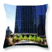 Chicago Parked On The River By 320 River Bar Throw Pillow