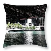 Chicago Parked On The River In June 03 Pa 01 Throw Pillow