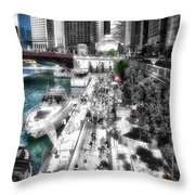 Chicago Parked On The River Walk 03 Sc Throw Pillow