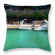 Chicago Parked On The River Walk Panorama 01 Throw Pillow