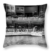 Chicago Parked On The River Walk Panorama 02 Bw Throw Pillow