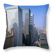 Chicago River, Aerial Shot, Illinois Throw Pillow