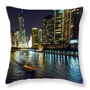 Chicago River At Night Throw Pillow