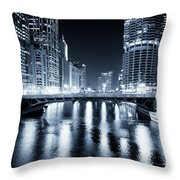 Chicago River At State Street Bridge Throw Pillow