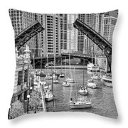 Chicago River Boat Migration In Black And White Throw Pillow